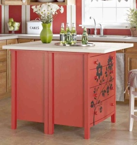 Small chest kitchen island.  Just add paint a counter-top of choice